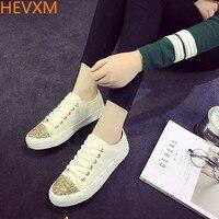 HEVXM 2017 bahar yeni düşük yardım kanvas ayakkabılar bayanlar Kore casual öğrenciler düz kravat dantel ayakkabı geniş ayakkabı womens