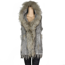 Hooded Long Women Real Rabbit Fur Knitted Raccoon Fur Vest Women's Vests Knit Gilets Waistcoat Coat Hood 73cm FRV005 vr046 knitted knit new real rabbit
