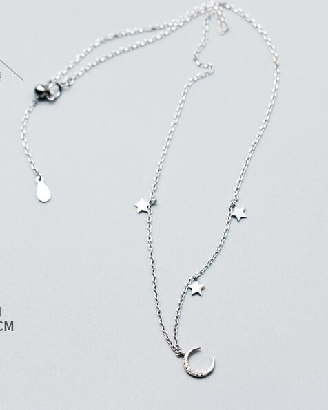 New fashion WOMEN'S Lady's 100% Real. 925 Sterling Silver Jewelry Crescent Moon Star Choker Short Necklace Pendants GTLX1427