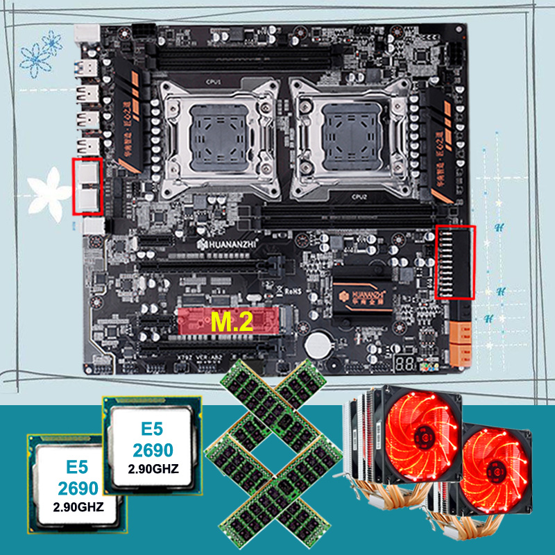 Discount HUANANZHI dual X79 motherboard bundle M.2 slot for NVMe SSD dual CPU <font><b>Intel</b></font> <font><b>Xeon</b></font> <font><b>E5</b></font> <font><b>2690</b></font> with coolers RAM 64G(4*16G) image