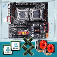 Remise HUANANZHI double X79 carte mère paquet M.2 slot pour NVMe SSD double CPU Intel Xeon E5 2690 avec refroidisseurs RAM 64G (4*16G)