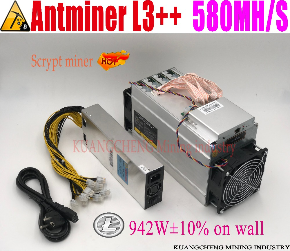 KUANGCHENG ANTMINER L3++ 580M  (with psu) scrypt miner LTC Mining Machine 580M 942W on wall Better Than ANTMINER L3+.