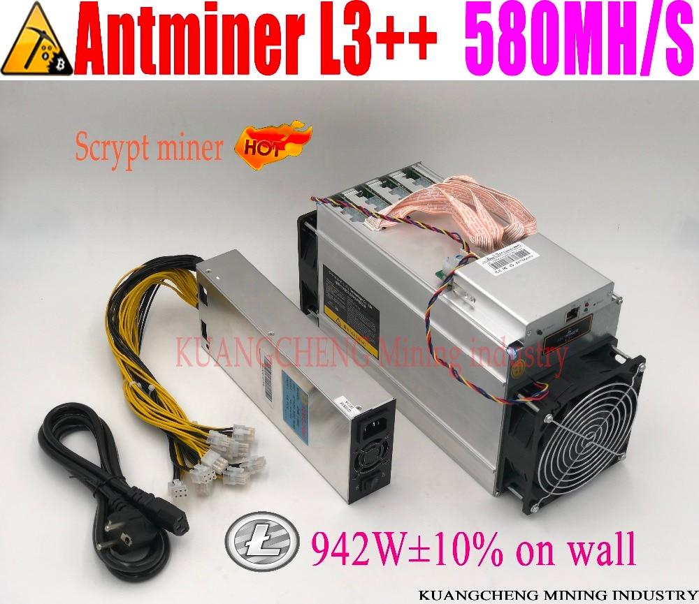 KUANGCHENG ANTMINER L3 + + 580M (avec psu) scrypt miner LTC Machine minière 580M 942W sur mur mieux que ANTMINER L3 +.