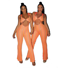 2019 summer women geometric color knitted spaghetti strap sleeve tie up overalls wide leg beach jumpsuit sexy jumpsuit недорого