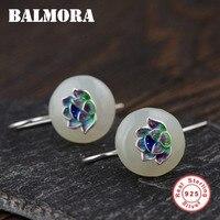 BALMORA 100 Real 925 Sterling Silver Lotus Flower Earrings For Women Mother Gift Retro Enameling Earrings