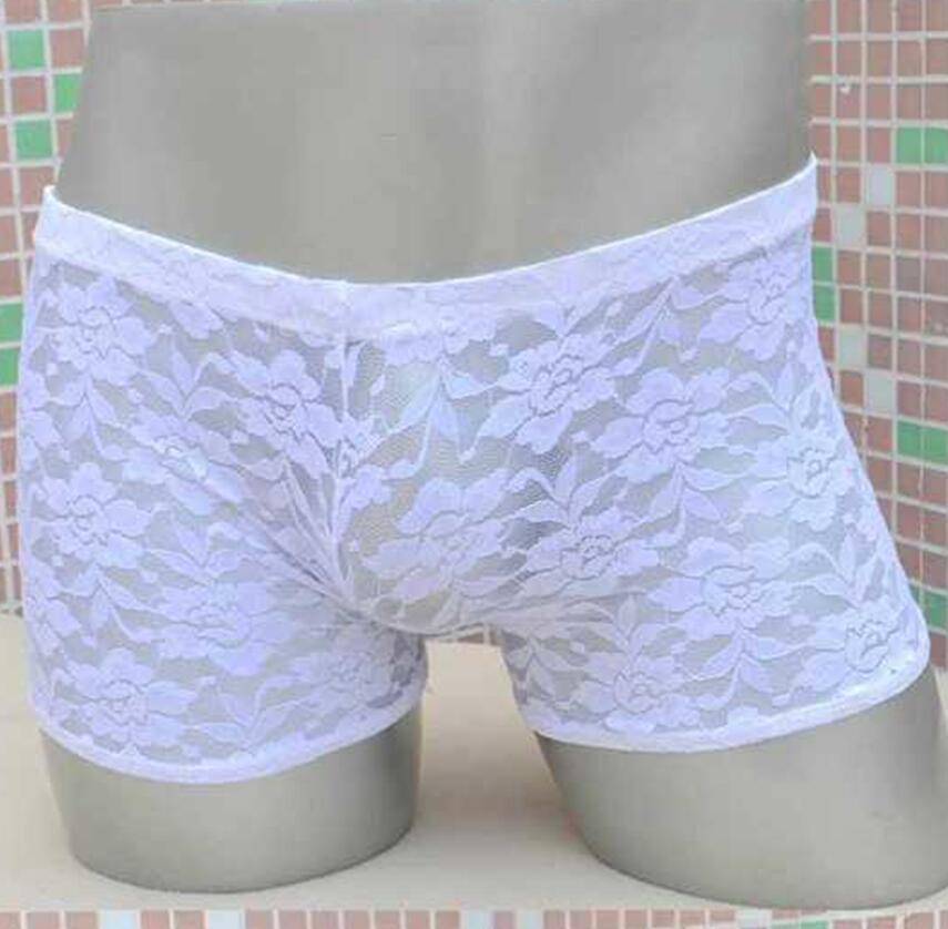 Lace Flower Male Underwear Sex Mens Sexy Erotic Underwear Male Boxers Shorts Adult Game Sex Toys Panties
