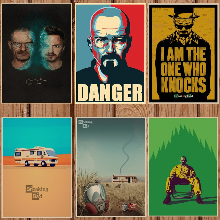 Breaking Bad movie retro Poster Vintage Kraft Paper Retro Posters Wall Sticker Bar Cafe Decoration Home Decor Gift A4-in Wall Stickers from Home & Garden