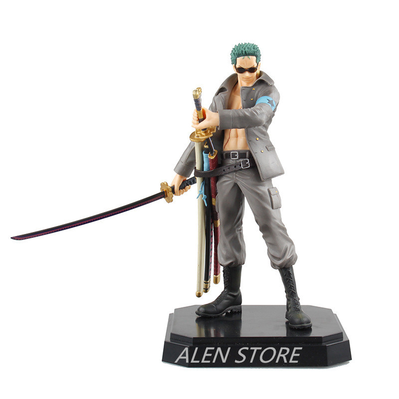 ALEN 22cm Onepiece Solon Roronoa Zoro Military Style One piece PVC Action Figure Doll Army Installed Collectible Model Anime