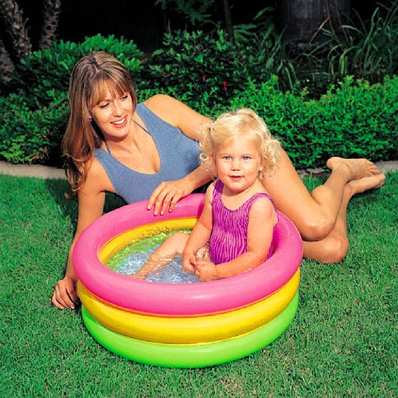 Bathroom Three Rings Baby Infant Inflatable Swimming Pool Plastic ...
