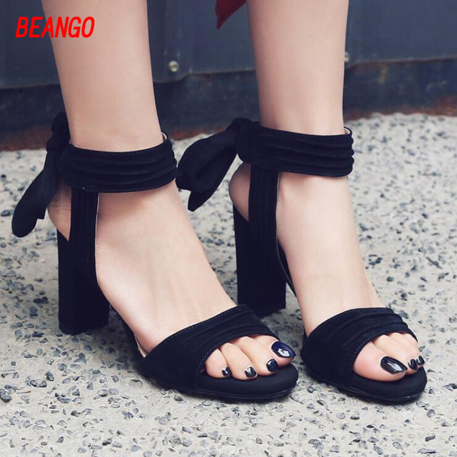 6d6a76754de US $100.25  BEANGO 2017 Summer Fashion Sexy Girl Concise Lace Up Thick High  Heels Cross Tied Women Sandals Peep Toe Suede Leather Woman Shoe-in ...
