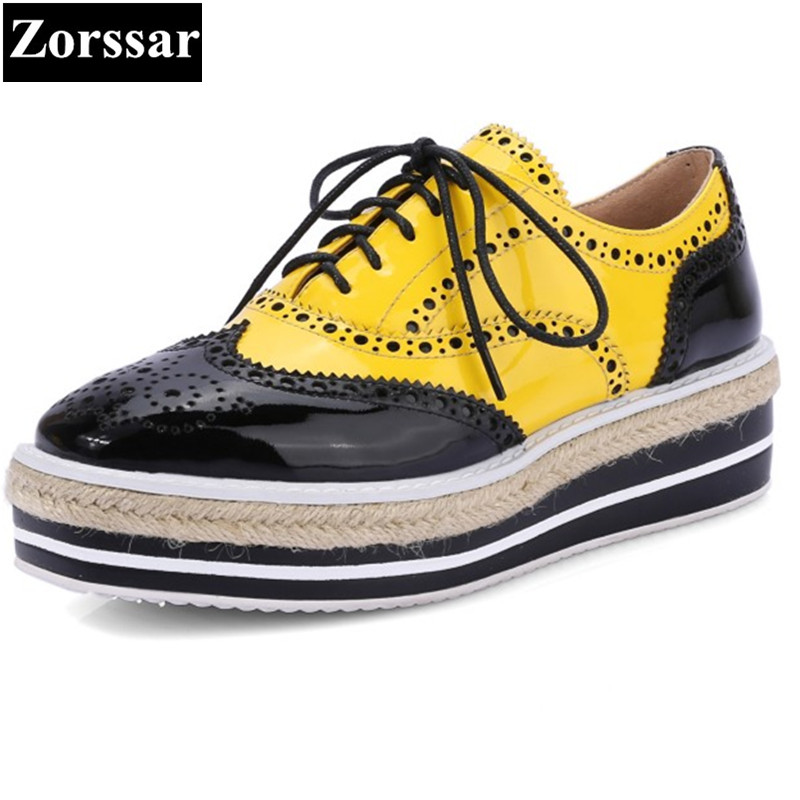 2017 Patent Leather Flat Oxford Shoes Woman Platform Shoes Mixed color Brogue Shoes Women Casual Creeper Shoes Womens Flats 632004 1753pcs military world war israel m60 magach main battle tank 2in1 ww2 army forces building blocks toys for children gift