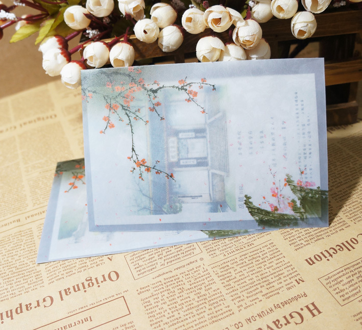 10Pcs/Lot 12.5X17.5Cm No 3/B6 Chinese Style Vintage Plum Blossom Flower Parchment Paper Envelopes Craft Gift Envelopes