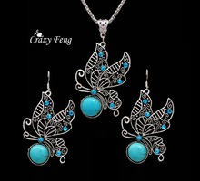 Popular free shipping promotion well quality silver plated earrings and necklace sapphire jewelry  for women wedding party