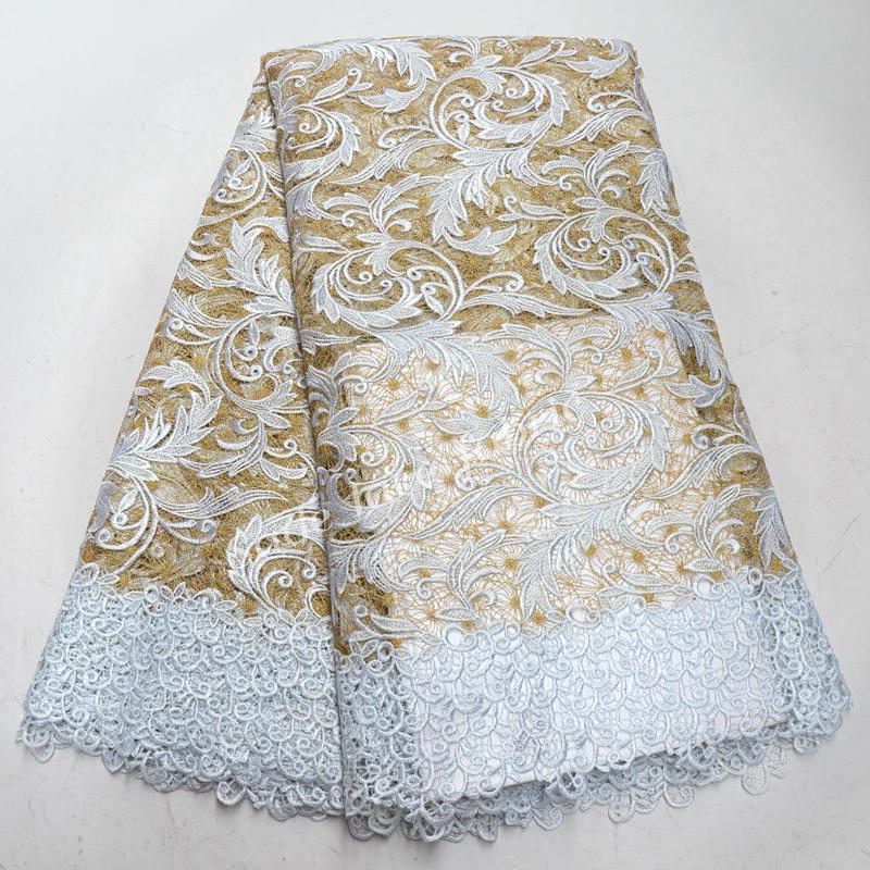 c014a1da35 2018 Latest African Laces Fabrics White Gold Embroidered Guipure Lace  Fabric High Quality Nigeria Cord Lace Fabric 5 yards QG559