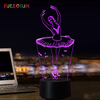 3D Illusion Lamp Ballet Girl LED USB 3D Night Lights 7 Colors Flashing Novelty LED Table