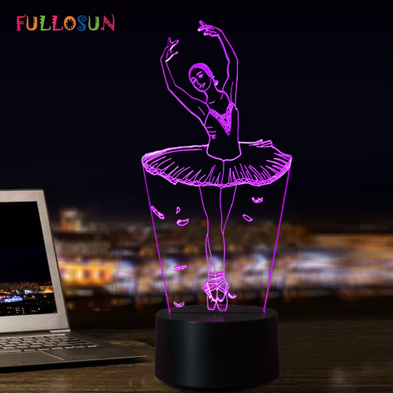 3d Illusion Lamp Ballet Girl Led Usb 3d Night Lights 7