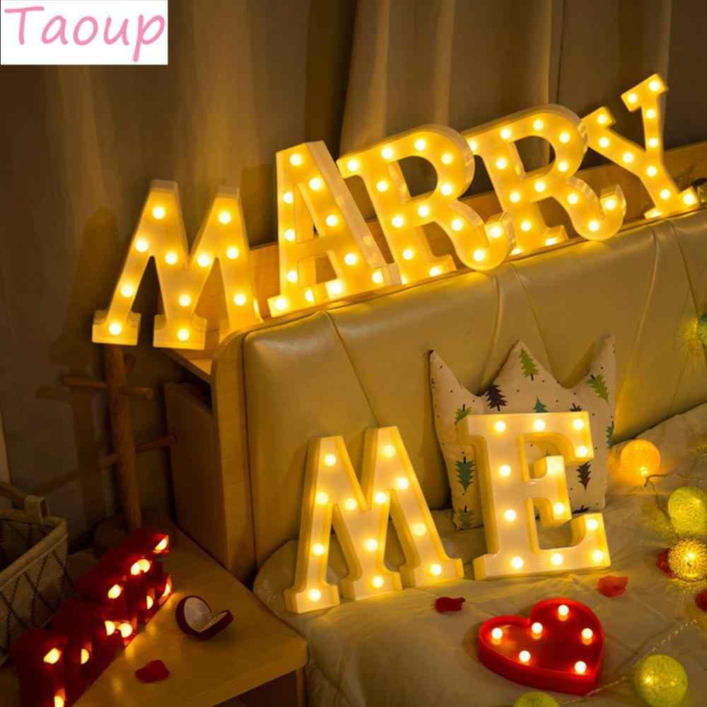 Taoup Теплый Белый A to Z светодиодный светильник с надписью Love Heart для свадьбы Mr Mrs