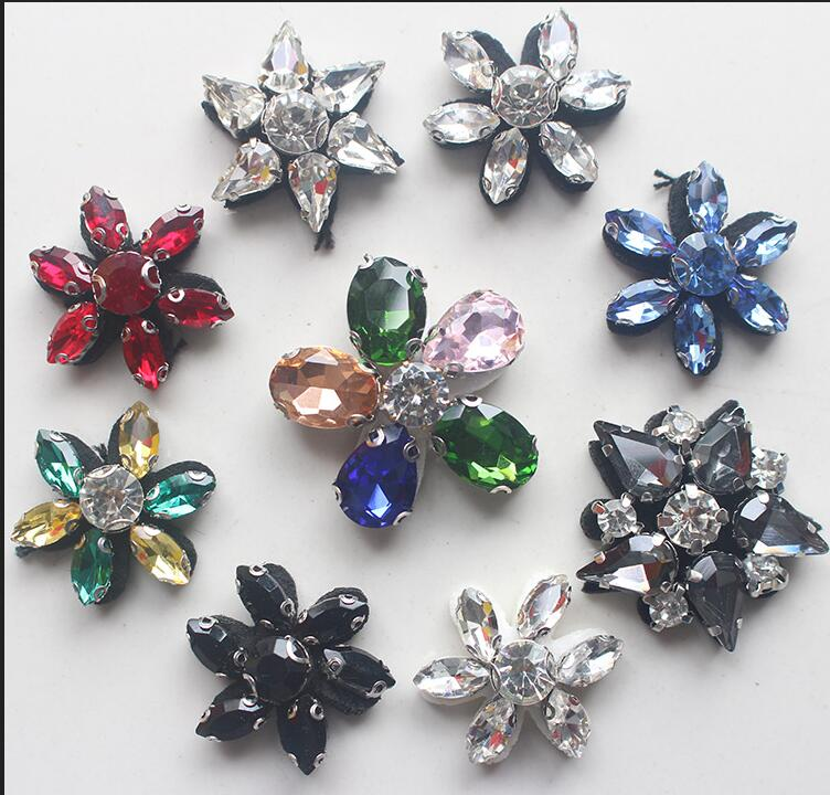 Flowers Rhinestone Beaded Brooch Patch for Clothing Sewing on socks Applique Jackets Shoes Bags DIY Apparel Decoration Patches