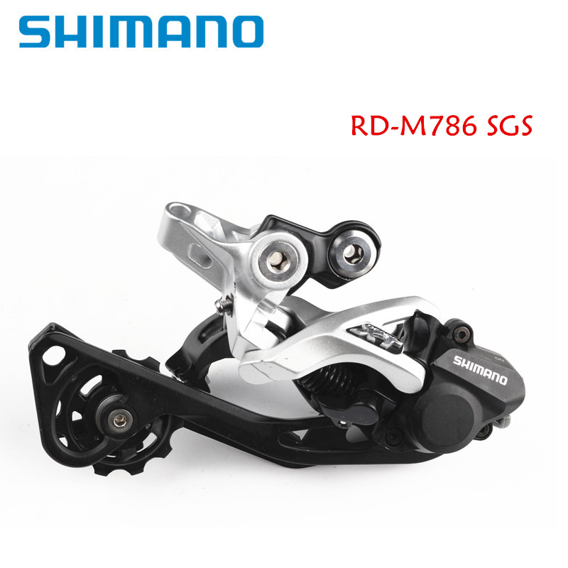 Shimano XT M786 Direct Mount Shadow Plus SGS Long Cage 10 Speed Rear Derailleur silver