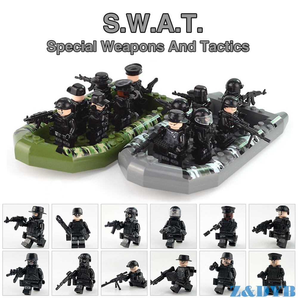 SWAT Team DIY Assault Boat City Police Military Figures Weapon Series Soldier Army Gun Build Block Brick legoed For Children Toy цена