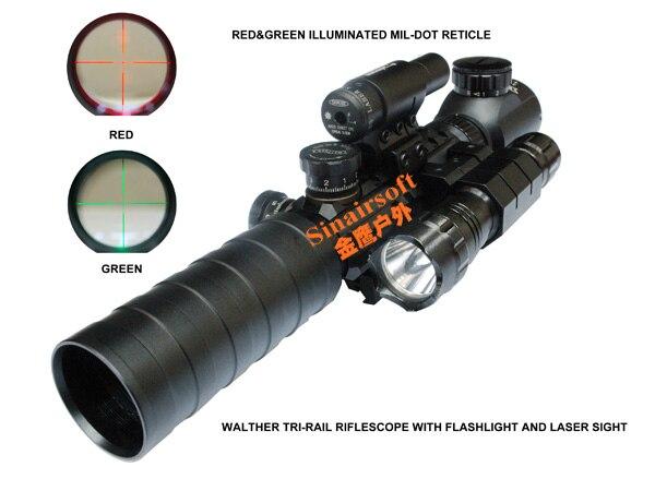 ФОТО Walther Tri-rail 3-9X32EG Red/Green Crosshair Rifle Scope +Red Laser+501B Flashlight Free Shipping