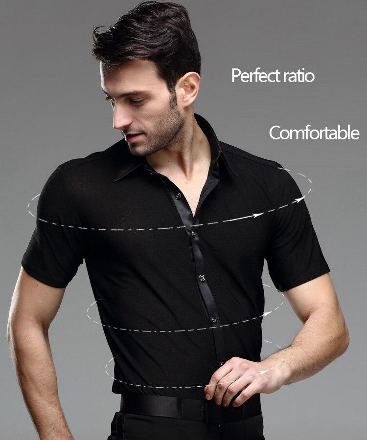 7786b20e8e Negro Danza Latina camisas hombre manga larga baile chaqueta camisa de los  hombres de baile Chacha India Salsa Paso Ropa de baile. B-5999