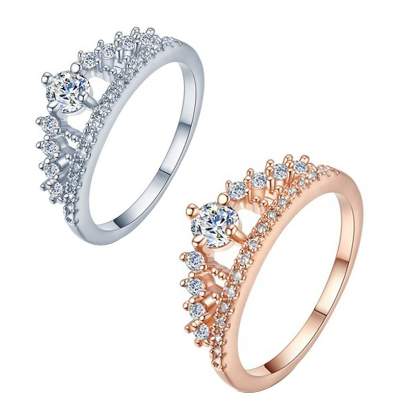 Cubic Zirconia Crown <font><b>Rings</b></font> For Women Fashion Crystal <font><b>Ring</b></font> Female Party Wedding Engagement Bridal Jewelry