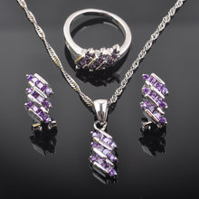 2019 New Purple Zirconia Women Australia Crystal 925 Sterling Silver Jewelry Sets Necklace Pendant Earrings Ring QZ0545(China)