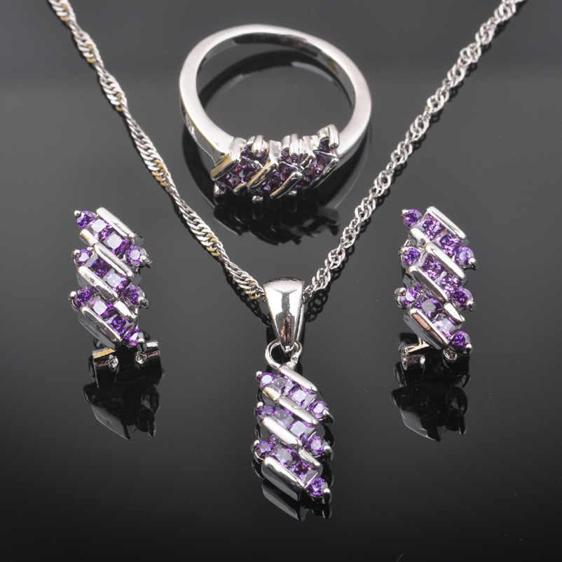 2019 New Purple Zirconia Women Australia Crystal 925 Sterling Silver Jewelry Sets Necklace Pendant Earrings Ring QZ0545