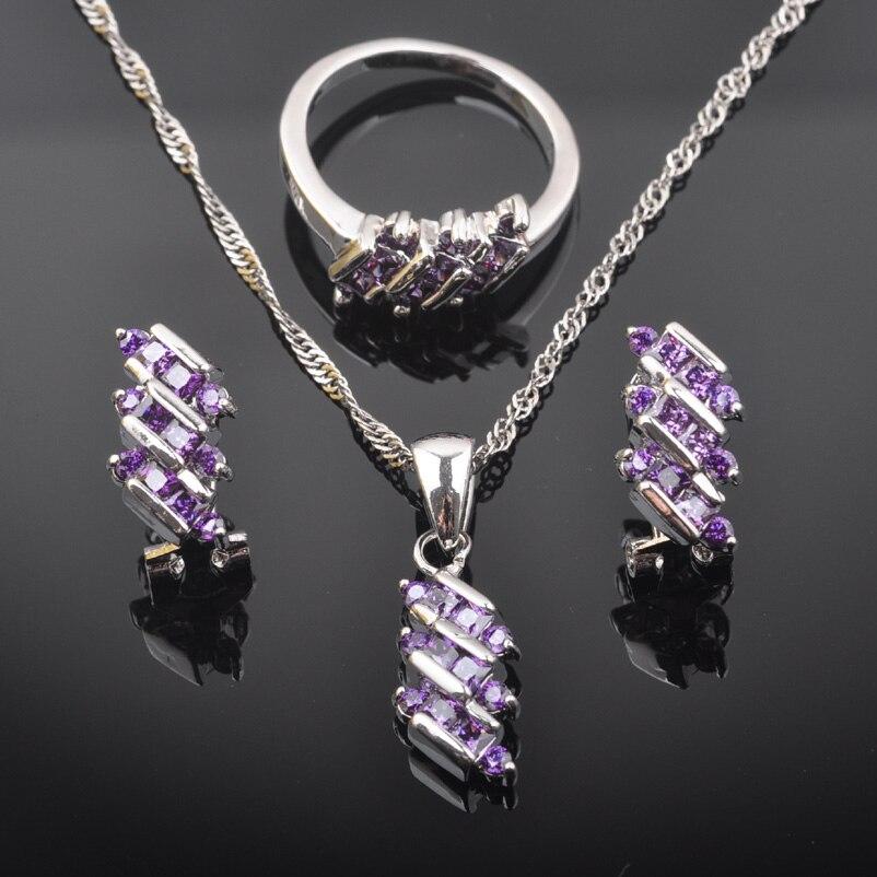 2019 Neue Lila Zirkonia Frauen Australien Kristall 925 Sterling Silber Schmuck Sets Halskette Anhänger Ohrringe Ring Qz0545