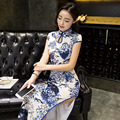 Chinese Traditional Dress Women Silk Cheongsam Qipao Long Flowers Cheongsams High Split Vintage Dress Mandarin Long Robes Femme