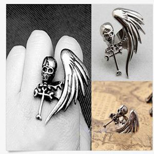 Vintage Punk Rock Gothic Cool Skull Wing Cross Adjustable Finger Ring Fashion Hot Women Fashion Jewelry For Sale