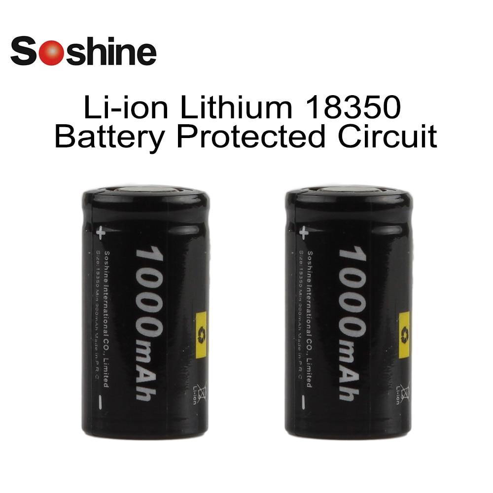 2pcs! Soshine 1000mAh 18350 Battery 3.7V Li-ion 18350 Rechargeable Battery for LED Flashlights Headlamps soshine 1pcs set 3 7v 5500mah 26650 li ion rechargeable battery with protected pcb for led flashlights headlamps