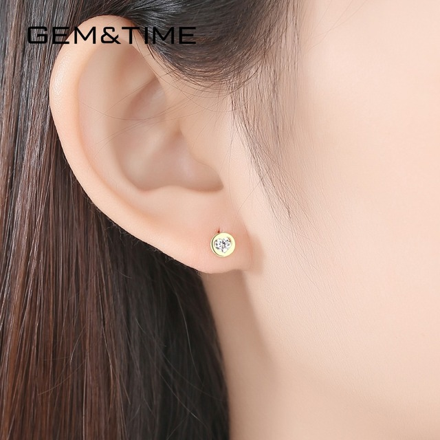Round Heart 14K Gold Stud Earrings 2