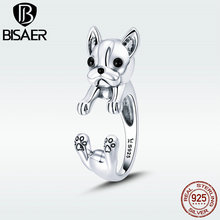 BISAER Silver Rings 925 Sterling Silver Pet French Bulldog Open Finger Ring for Women Silver Ring Fashion Jewelry HSR411 bisaer silver rings 925 sterling silver pet french bulldog open finger ring for women silver ring fashion jewelry hsr411