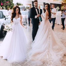 TANYA BRIDAL Blush Tulle Wedding Dresses Sweep Train
