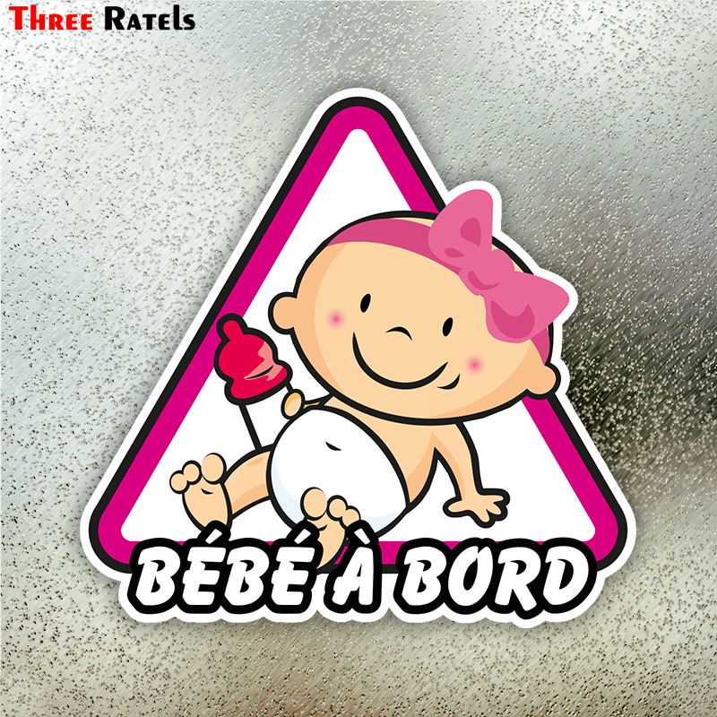 Three Ratels LCS137# 15.4x15cm Baby On Board In Frence Colorful Car Sticker Funny Car Stickers Styling Removable Decal