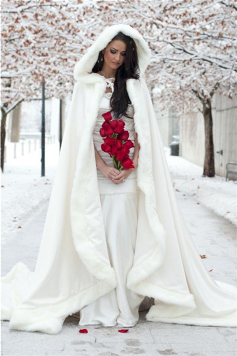 Floor Length Women White/Ivory Faux Fur Coat Bolero Winter