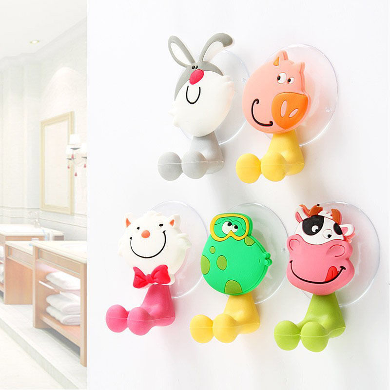 1 PCS New Animal Silicone Kawaii Cartoon Sucker Toothbrush Holder Suction Family Set Wall Bathroom Eco-Friendly полочки для ванной комнаты animal silicone toothbrush holder cute animal silicone toothbrush holder