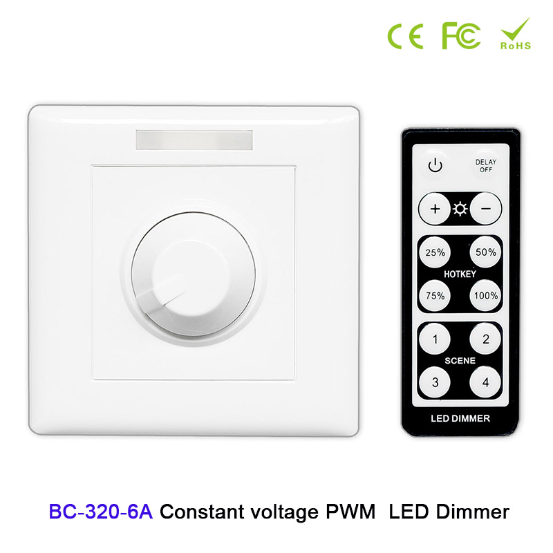 цена на Knob style led constant voltage PWM dimmer with wireless IR remote DC12V-48V 6A led controller set for led strip light