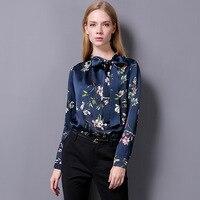 100% шелк атлас рубашка шелк тутового ткань Для женщин цветок Футболка с принтом Новый Desigual осень зима Стиль