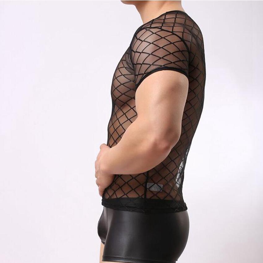Men's Transparent Mesh Short Sleeve Sexy See Through T-Shirt