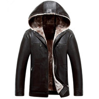 Hot New Listing Fall And Winter High End Business Casual Men Leather Jacket Hooded Jacket Warm