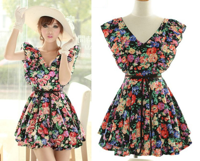 2013 New Lady Vintage Waist Ruffled Prints Mini Dress Floral Tunic Sleeveless V-Neck one-piece dress Black/Bule Free shipping