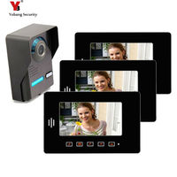 Yobang Security 7 Apartment Video Intercom Doorbell System IR Camera Touch Key for 3 Families