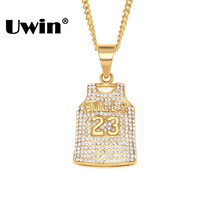 Uwin numéro 23 Bull Jersey gilet pendentif collier plein glacé strass couleur or acier inoxydable hommes Sport chemise bijoux(China)