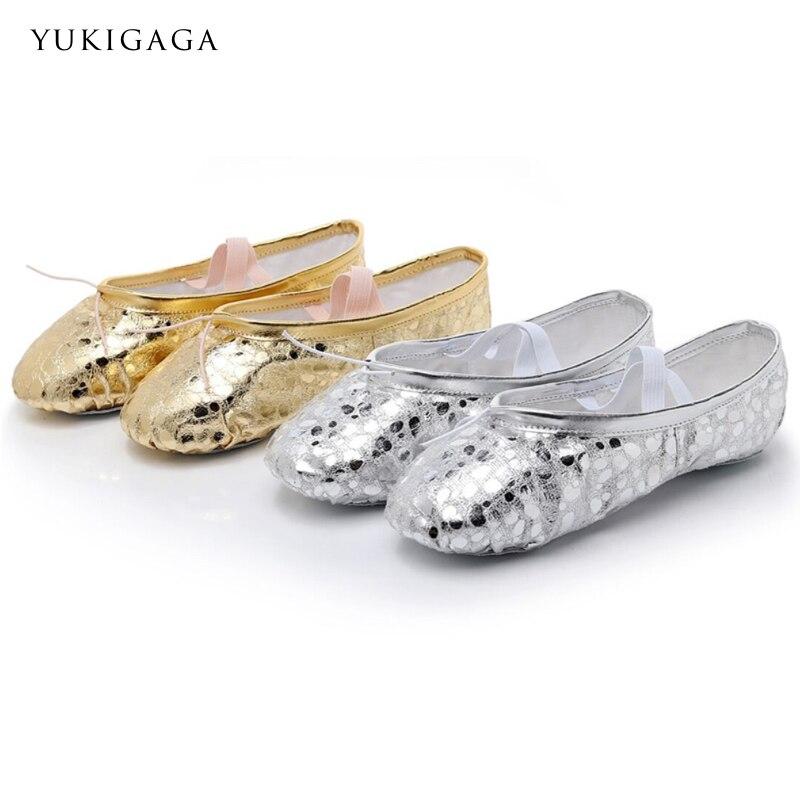 2019 New Arrive Women Girls Soft Ballet Teacher Practicing PU Female Dance Shoes Gold Silver
