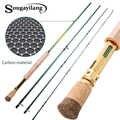 Sougayilang Carbon fiber fishing rod Dual Use 2.7M 4 Sections Fly Fishing Rod Spinning Fishing Rod Outdoor Bass Fishing Pole