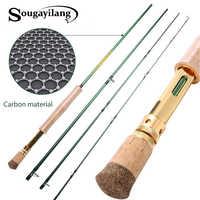 Sougayilang fibra de carbono vara de pesca dupla utilização 2.7 m 4 seções voar vara de pesca fiação vara de pesca ao ar livre baixo pólo de pesca