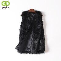 GOPLUS Phụ Nữ Brown Cộng Với Kích Thước Giả Fur Vest Slim Dài Faux fur Coat Phụ Nữ XXL Gilet Fourrure Lông Thỏ Femme Vest Dài áo